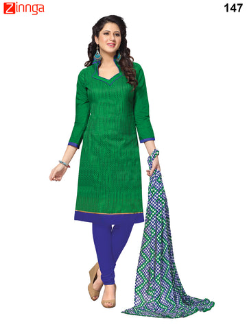 Green Color Banarasi Unstitched Dress Material - 147