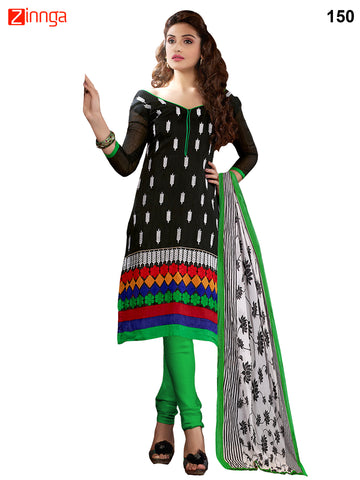Black Color Cotton Chanderi Unstitched Dress Material - 150