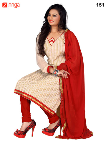 Beige Color Cotton Chanderi Unstitched Dress Material - 151