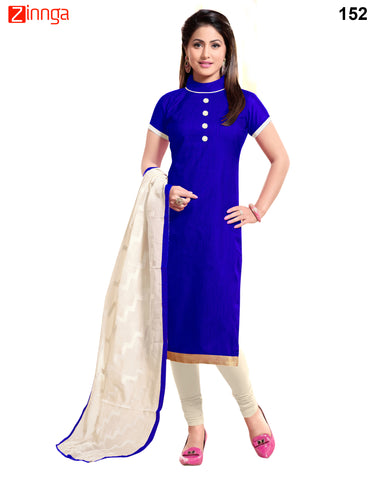 Blue Color Chanderi Banarasi Jackard Unstitched Dress Material - 152