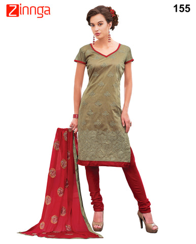 Brown Color Chanderi Unstitched Dress Material - 155