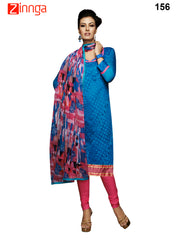 Blue Color Chanderi Unstitched Dress Material - 156