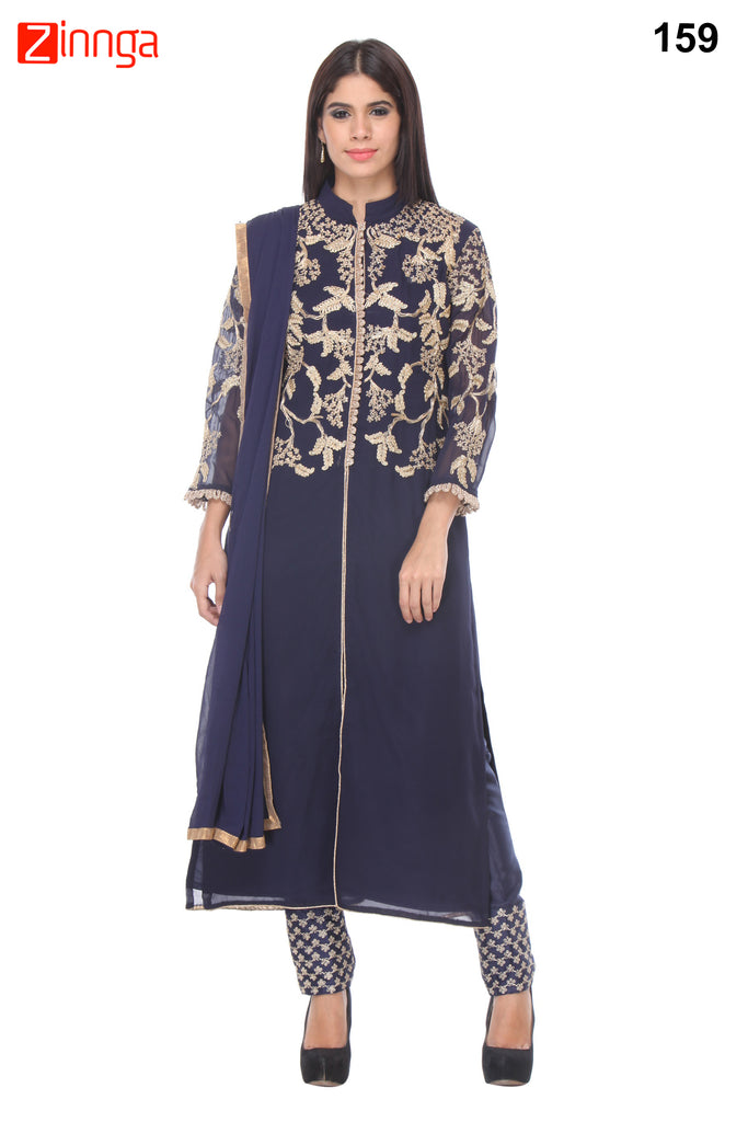 Blue Color Georgette Dress Material - 159