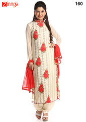 Cream Color Georgette Dress Material - 160