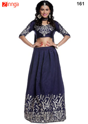 Blue Color Artsilk Semi Stitched Lehenga - 161