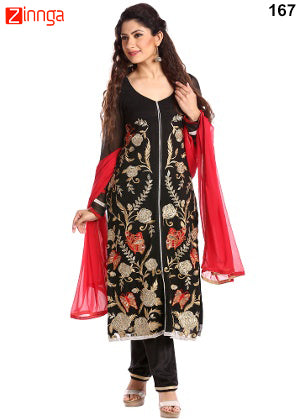 Black Color Georgette Dress Material - 167