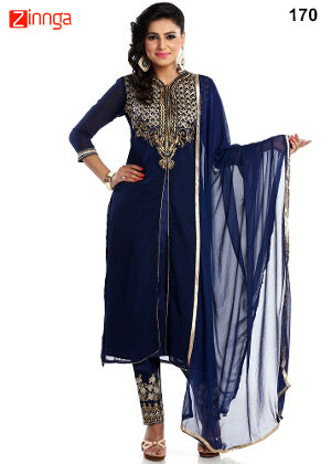 Blue Color Georgette Dress Material - 170