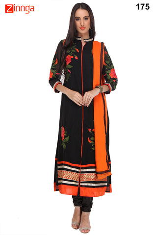 Black Color Georgette Unstiched Dress Material - 175