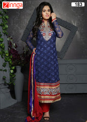 Blue Color Chanderi Dress Material - 183