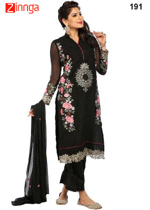 Black Color Georgette Dress Material - 191