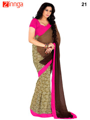 Brown and Beige Color Satin Chiffon Saree - 21