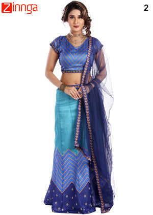 Sky Blue Color Art Silk Semi Stitched Lehenga  - 2