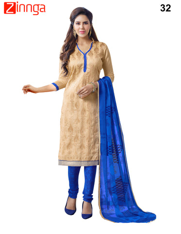 Beige Color Chanderi Dress Material - 32