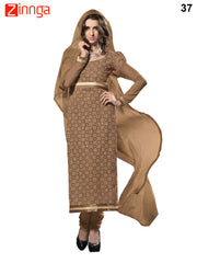 Brown Color 60 grm Georgette Dress Material - 37