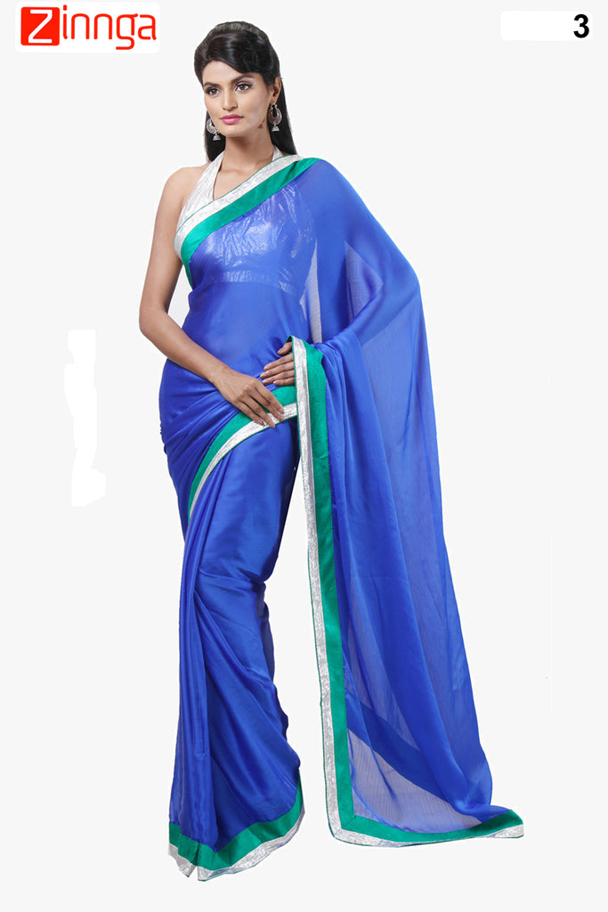 Blue Color Satin Chiffon Saree - 3