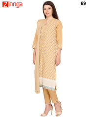 Beige Color Cotton Unstitched Patiyala Suit - 69