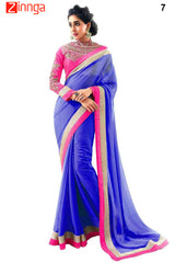 Blue Color Chiffon Saree - 7