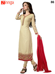 Beige Color Georgette Dress Material - 86