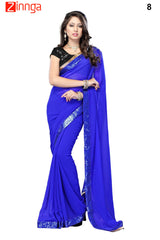 Blue Color Chiffon Saree - 8