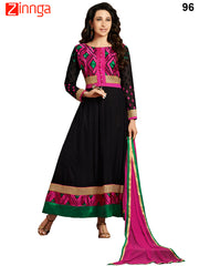 Black Color Georgette Unstitched Anarkali Suit  - 96
