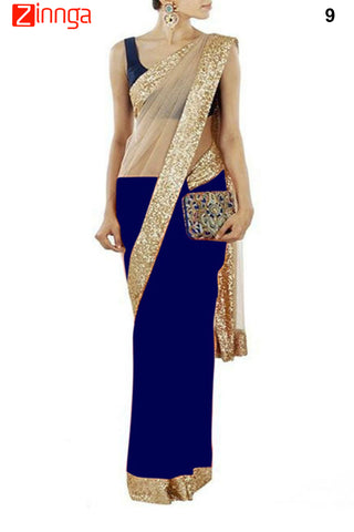 Blue Color Net and Chiffon Saree - 9