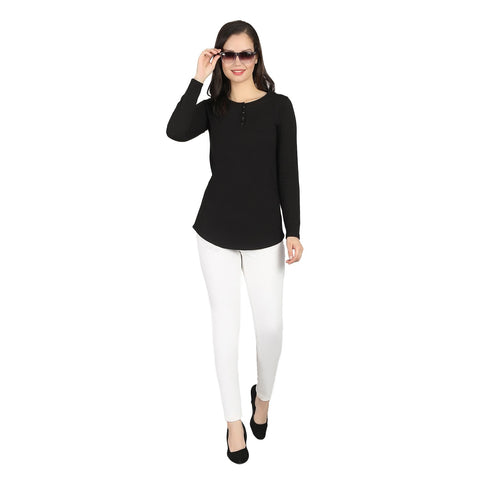Black color Cotton Blend Women's Tshirt - RTW-11035-2018