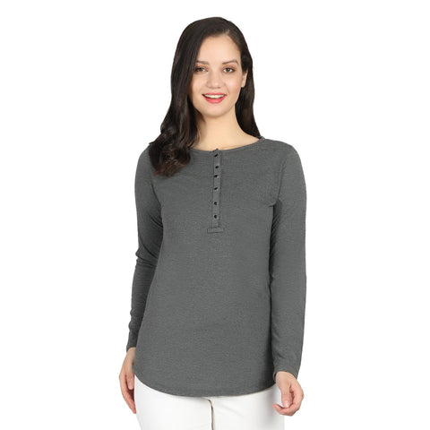 Grey color Cotton Blend Women's Tshirt - RTW-11037-2018