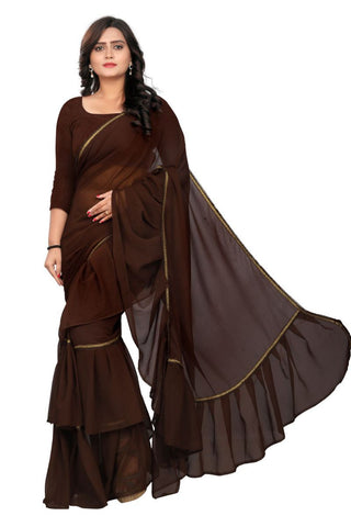 Brown Color Marbal Saree - RUFFLE-BROWN