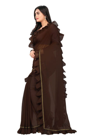 Brown Color Marbal Saree - RUFFLE-RF-BROWN