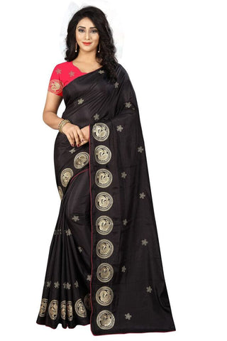 Black Color Silk Women's Embroidered Saree - RVF02E01607