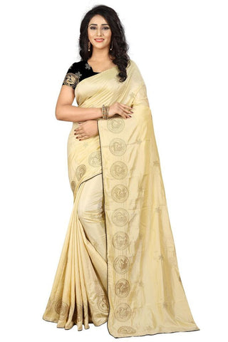 Beige Color Silk Women's Embroidered Saree - RVF02E02207