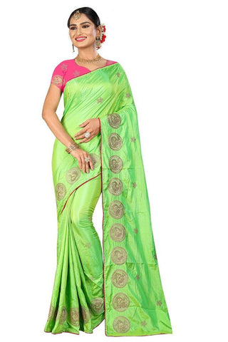 Parrot Green Color Silk Women's Embroidered Saree - RVF02E02407