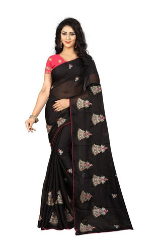 Black Color Silk Women's Embroidered Saree - RVF02E02507