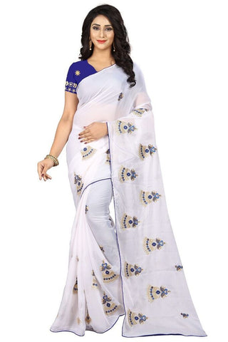 White Color Silk Women's Embroidered Saree - RVF02E02707