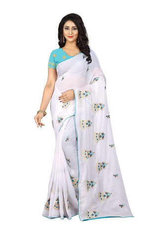 White Color Silk Women's Embroidered Saree - RVF02E02807