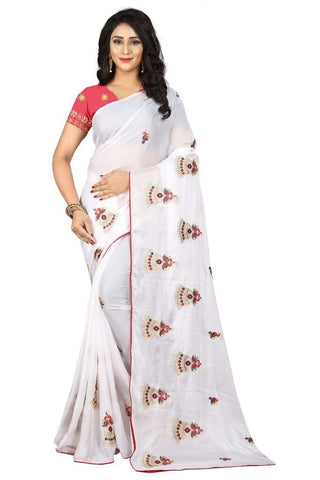 White Color Silk Women's Embroidered Saree - RVF02E02907