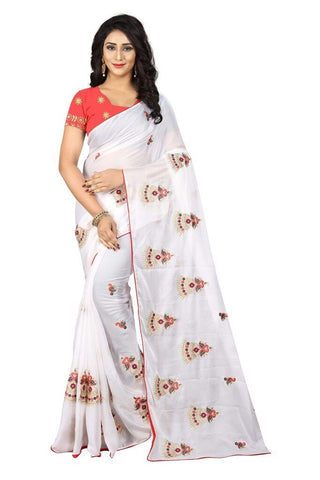 White Color Silk Women's Embroidered Saree - RVF02E03007