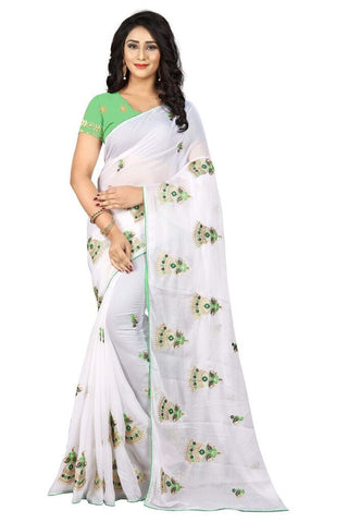 White Color Silk Women's Embroidered Saree - RVF02E03107