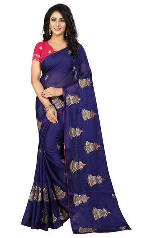Navy Blue Color Silk Women's Embroidered Saree - RVF02E03407