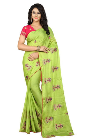 Parrot Green Color Silk Women's Embroidered Saree - RVF02E03507