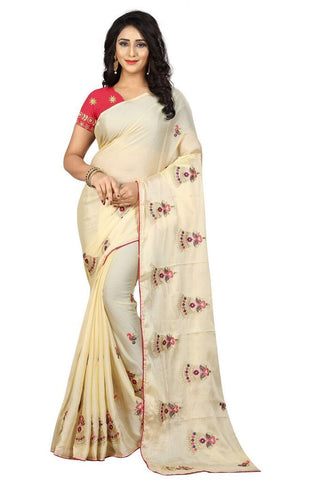 Beige Color Silk Women's Embroidered Saree - RVF02E03607