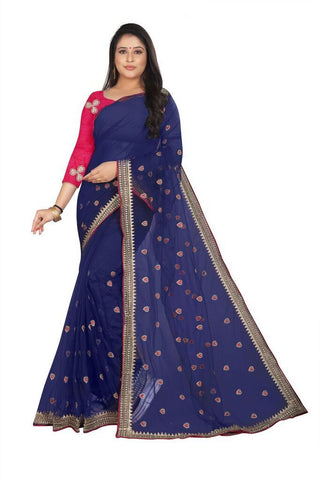 Navy Blue Color Silk Women's Embroidered Saree - RVF02E04007