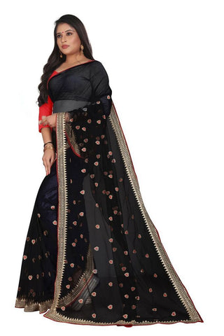 Black Color Silk Women's Embroidered Saree - RVF02E04207