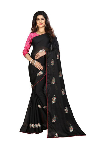 Black Color Silk Women's Embroidered Saree - RVF02E04307