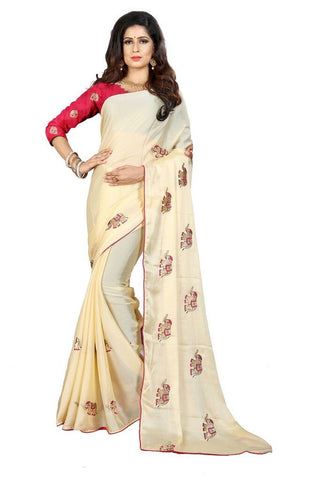 Beige Color Silk Women's Embroidered Saree - RVF02E04607