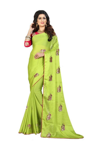 Parrot Green Color Silk Women's Embroidered Saree - RVF02E04707