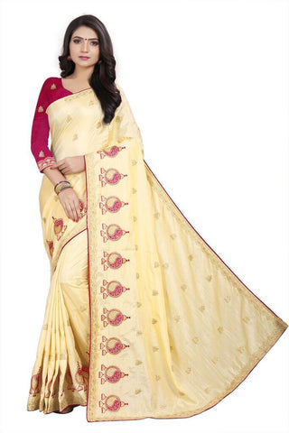 Beige Color Silk Women's Embroidered Saree - RVF02E05007