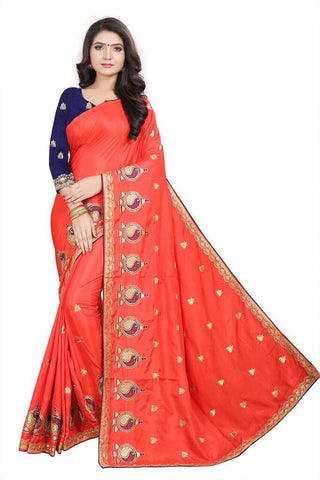 Peach Color Silk Women's Embroidered Saree - RVF02E05107