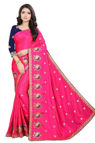 Pink Color Silk Women's Embroidered Saree - RVF02E05207