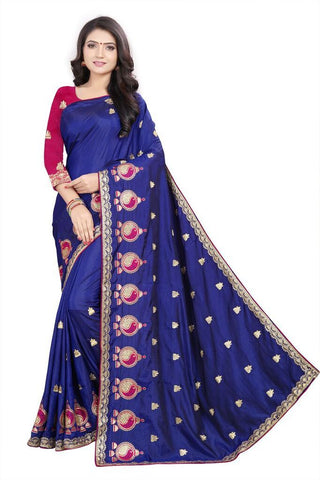 Royal Blue Color Silk Women's Embroidered Saree - RVF02E05307